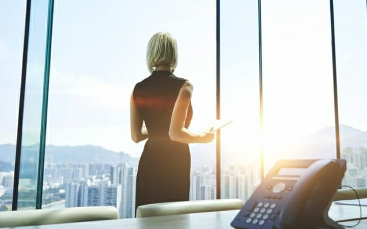 Los Angeles Business Woman Overlooking Office